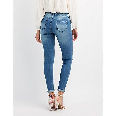Patched & Destressed Skinny Denim Jeans