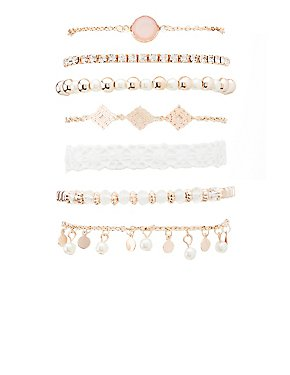 Embellished, Beaded & Crochet Layering Bracelets - 7 Pack