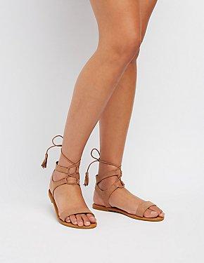 Tassel-Trim Lace-Up Sandals