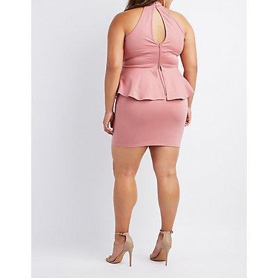 Plus Size Lace-Trim Peplum Bodycon Dress