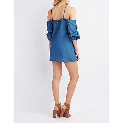 Chambray Cold Shoulder Gathered Sleeve Dress