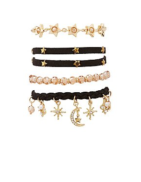 Embellished Layering Bracelets - 4 Packs