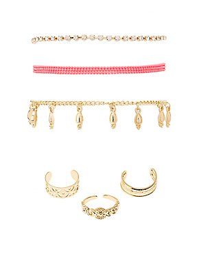 Mixed Embellished Anklets & Toe Rings Set