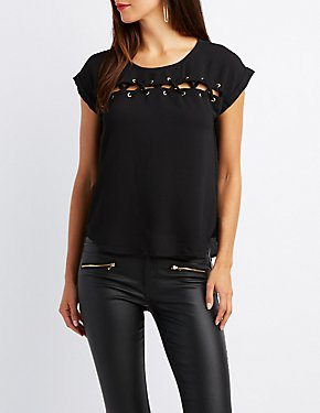 Lace-Up Detail Top