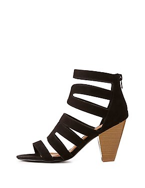 Qupid Caged Lace-Up Booties