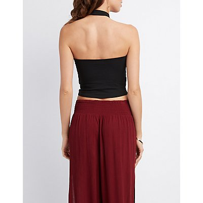 Mock Neck Halter Crop Top