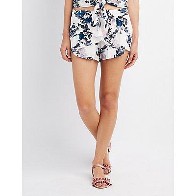 Floral Drawstring Wrap Shorts