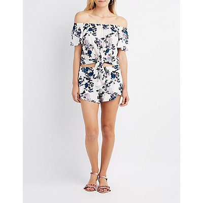 Floral Knotted Off-The-Shoulder Top