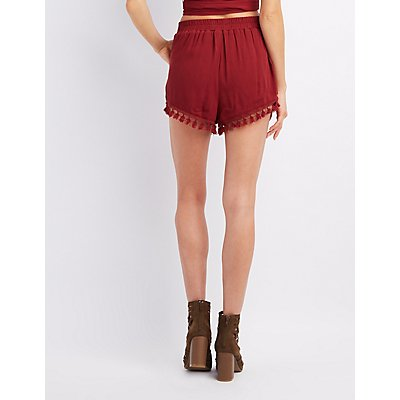 Crochet & Tassel-Trim Shorts
