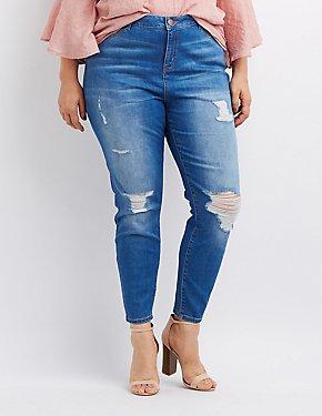 Plus Size Refuge Destroyed Hi-Rise Skinny Jeans