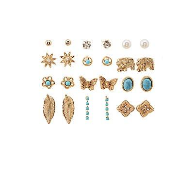 Faux Turquoise & Embellished Stud Earrings Set