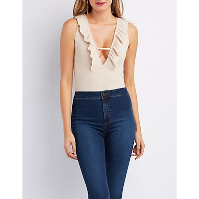 Ribbed Ruffle-Trim Bodysuit