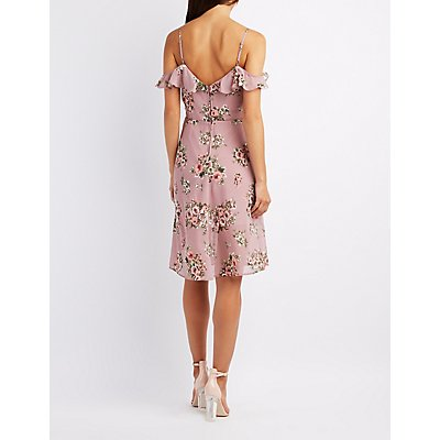 Floral Ruffle-Trim Cold Shoulder Dress