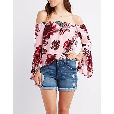 Floral Off-The-Shoulder Bell Sleeve Top
