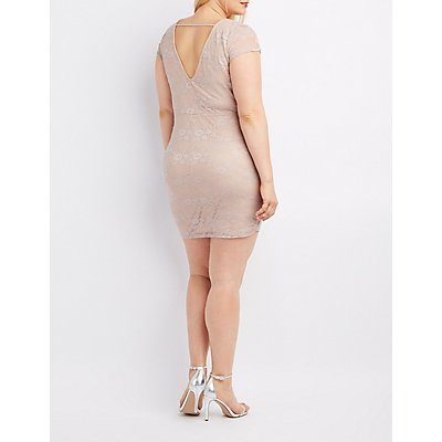 Plus Size Lace Lattice-Front Bodycon Dress