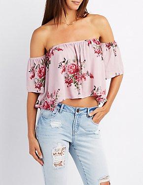 Floral Off-The-Shoulder Lace-Up Top