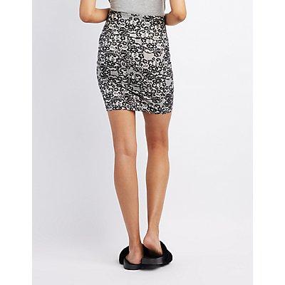 Lace Print Bodycon Mini Skirt