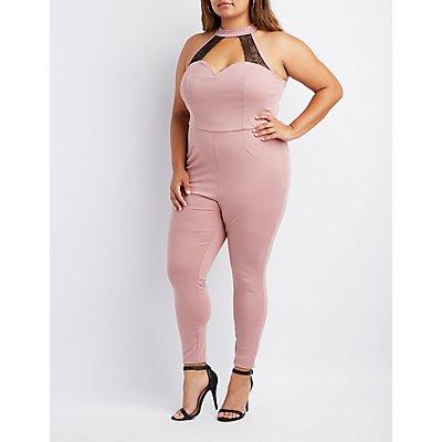 Plus Size Mock Neck Lace-Inset Jumpsuit