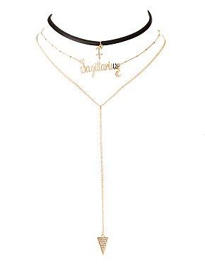 Sagittarius Lariat & Choker Necklace - 2 Pack
