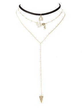 Libra Lariat & Choker Necklaces - 2 Pack