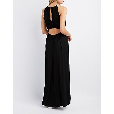 Bib Neck Open Back Maxi Dress