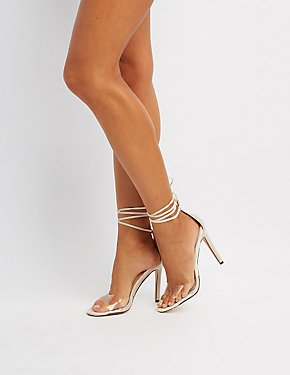 Clear Strap Lace-Up Sandals