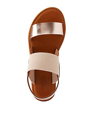 Colorblock Two-Band Slingback Sandals