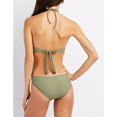Embroidered Halter One-Piece Swimsuit