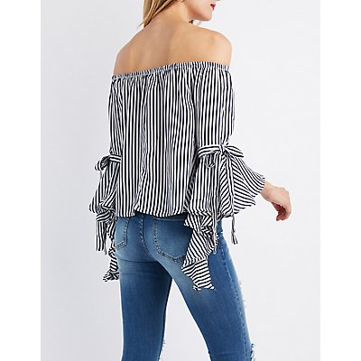 Striped Cascading Off-The-Shoulder Top