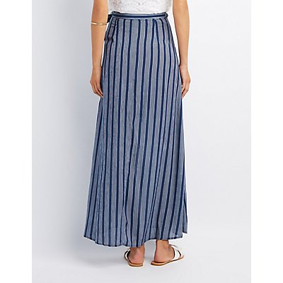 Striped Wrap-Tie Maxi Skirt