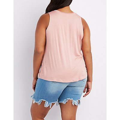 Plus Size Destroyed Graphic Tank Top