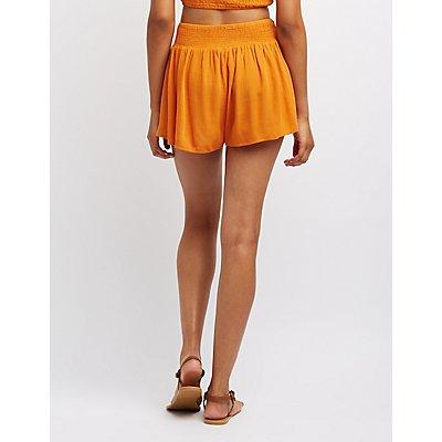 Smocked Gauze Shorts