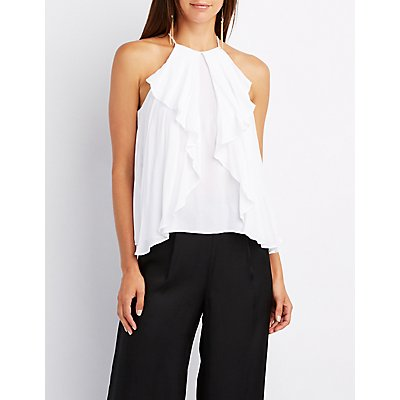 Ruffle-Trim Bib Neck Tank Top