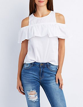 Poplin Cold Shoulder Ruffle Top