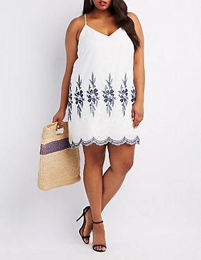 Plus Size Embroidered Racerback Shift Dress