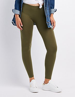 Solid Stretch Cotton Leggings