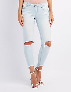 Cello Frayed Hem Destroyed Skinny Jeans