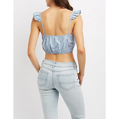 Gingham Ruffle-Trim Crop Top