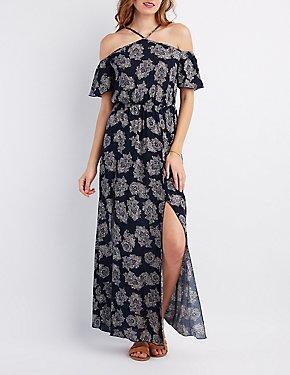 Printed Cold Shoulder Maxi Dress