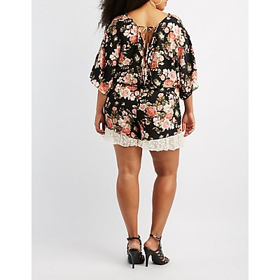 Plus Size Floral Lace-Trim Open-Back Romper