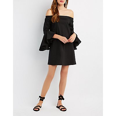 Bell Sleeve Off-The-Shoulder Shift Dress