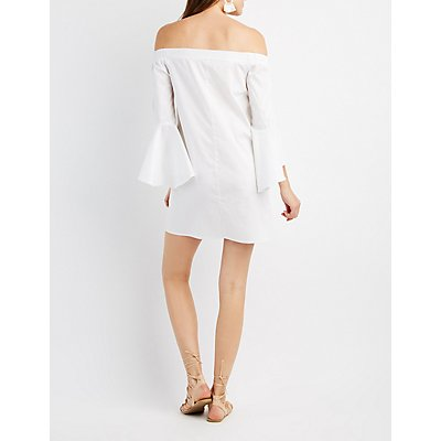 Bell Sleeve Off-The-Shoulder Shift Dress