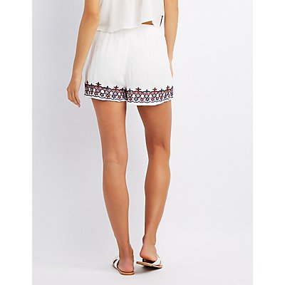 Embroidered Tassel-Tie Shorts