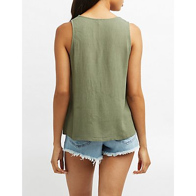 Gauze Lace-Up Tank Top