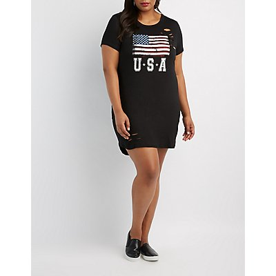 Plus Size Distressed USA Graphic Dress