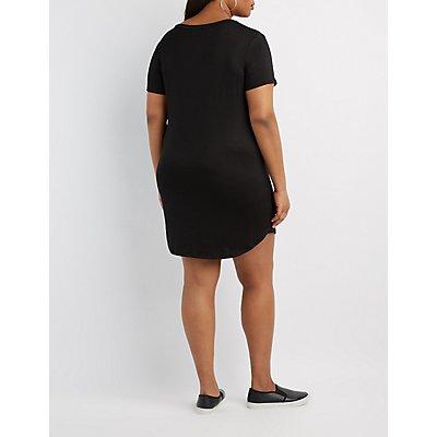 Plus Size Distressed USA Graphic Dress