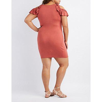 Plus Size Ruffle Sleeve Cold Shoulder Dress
