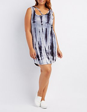 Plus Size Tie Dye Cut-Out Swing Dress
