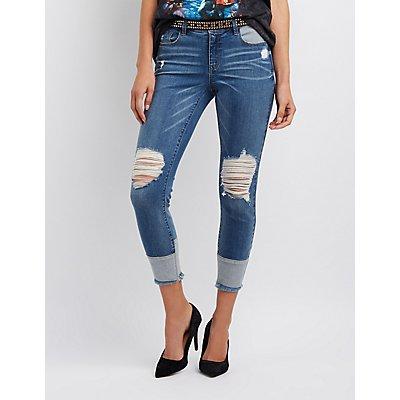 Refuge Destroyed Colorblock Skinny Jeans