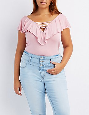 Plus Size Lattice-Front Ruffle-Trim Bodysuit